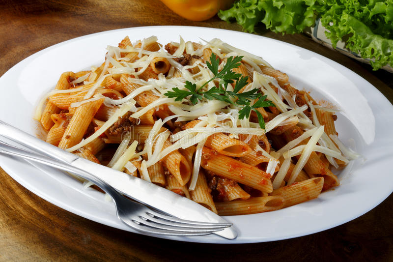 Bolognese Pasta On A Forf Stock Photo Image Of Garnish