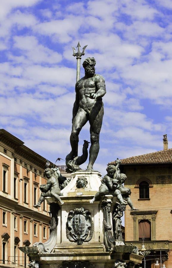 Bolonia Italia de la fuente de Neptuno imágenes de archivo libres de regalías