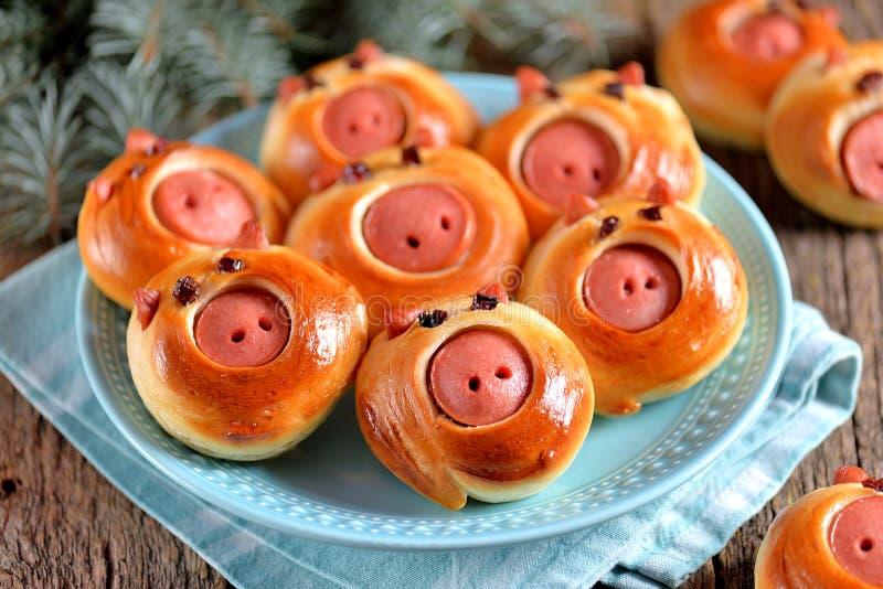Bolos bonitos do porco com salsichas - símbolo de 2019, a ideia para o café da manhã das crianças imagem de stock royalty free