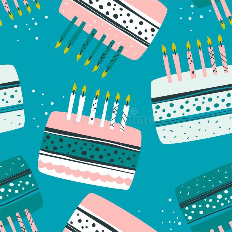 Bolos com velas, teste padrão sem emenda colorido Fundo bonito decorativo, confeitos festal ilustração do vetor