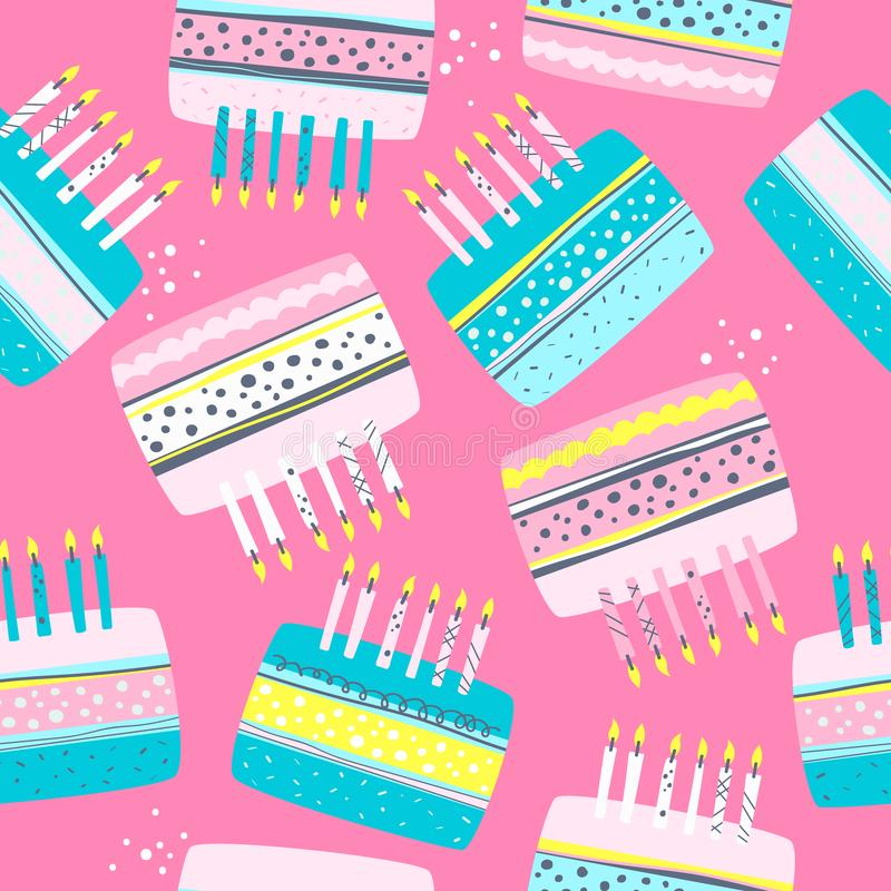 Bolos com velas, teste padrão sem emenda colorido Fundo bonito decorativo, confeitos festal ilustração stock