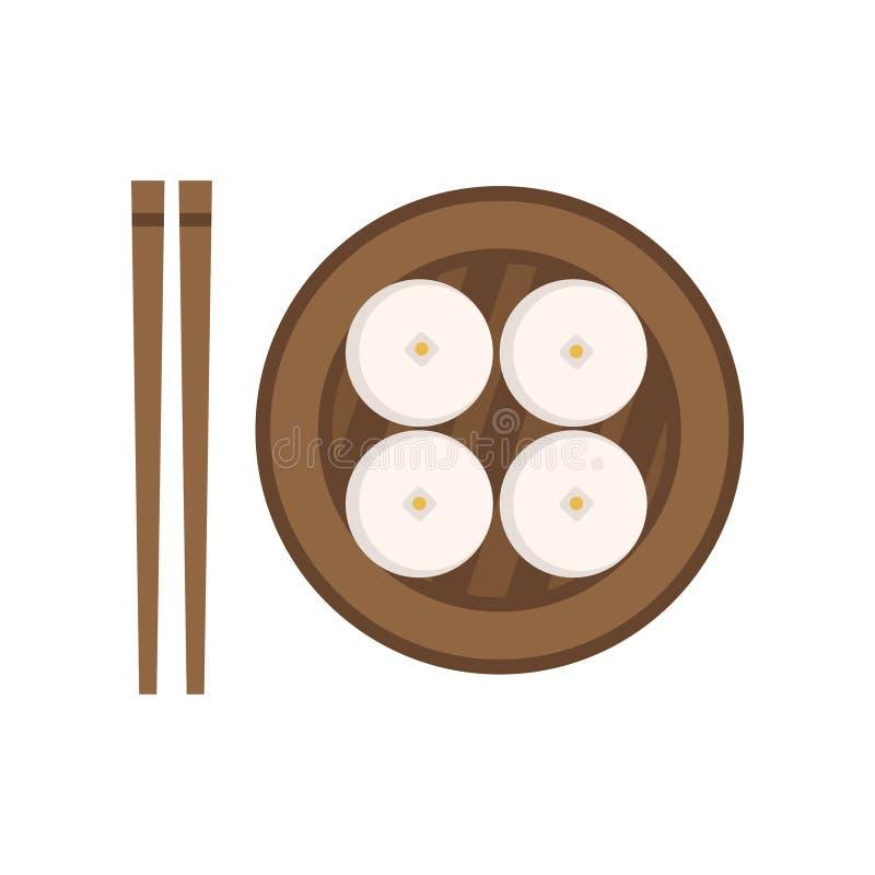 Bolos cozinhados alimento do chinês tradicional Conceito nacional do prato Placa de madeira e pares de hashis Ícone colorido liso ilustração do vetor