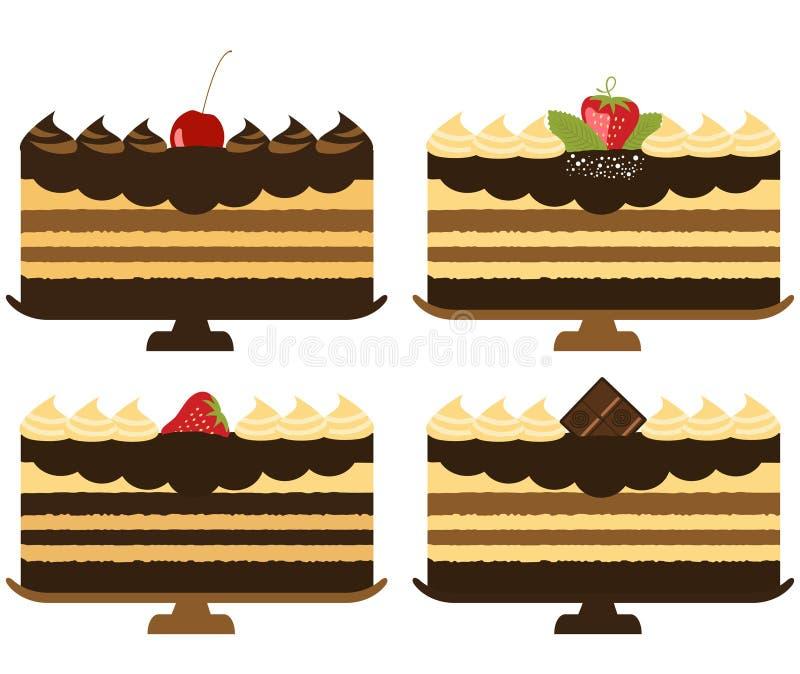 Bolos de chocolate ilustração stock