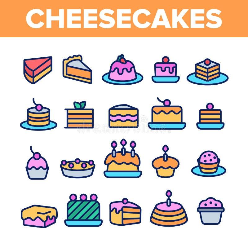 Bolos de queijo doces, grupo linear dos ?cones do vetor da padaria ilustração do vetor