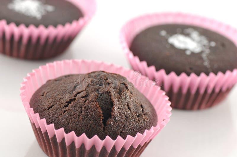 Bolos do chocolate no branco foto de stock