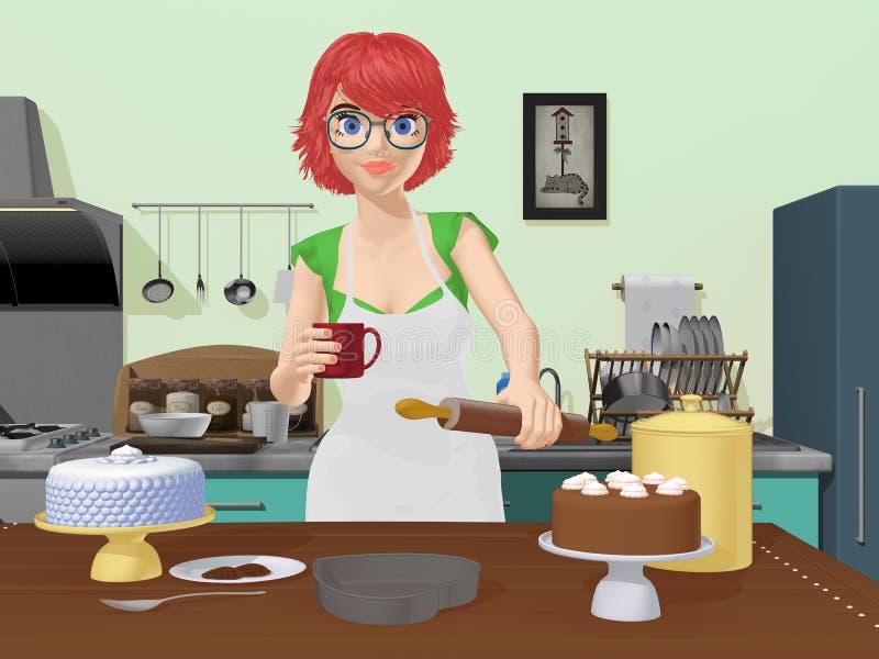 Bolos do cozimento do cozinheiro da senhora ilustração royalty free