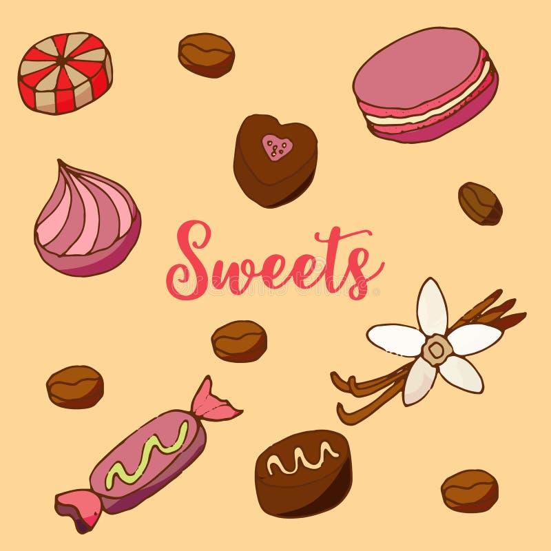 Bolos e ícones da sobremesa ajustados ilustração royalty free