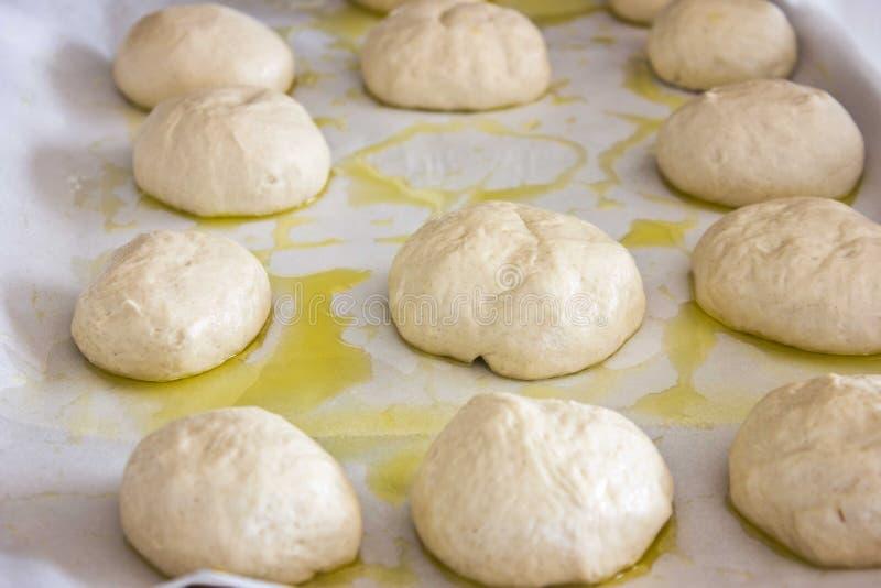 Bolos redondos brancos da massa de fermento em uma bandeja imagem de stock
