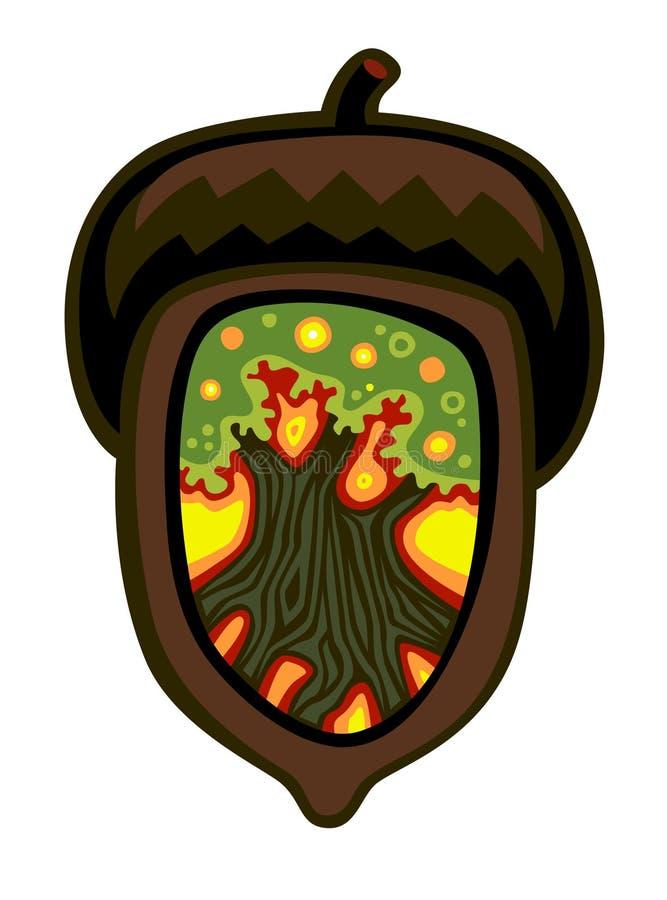 Bolota com um carvalho para dentro ilustração do vetor