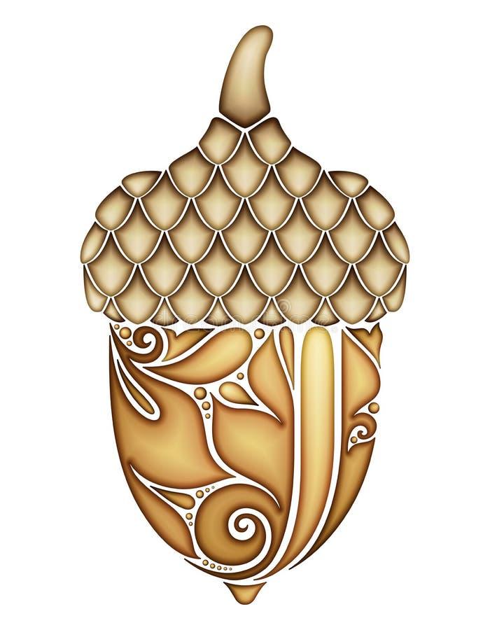 Bolota decorativa colorida Planta da queda com o ornamento floral de Paisley, motivos indianos Elemento do projeto para a cópia,  ilustração stock