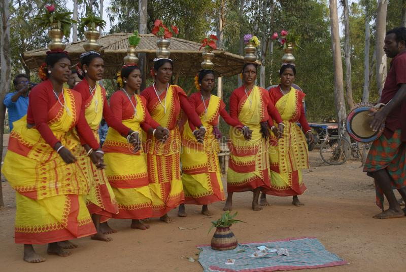 The tribal women from bolpur santiniketan are called Santhals. Bolpur, West Bengal, India - February 2018: The popular tribal dance known as Santhal dance in royalty free stock photography