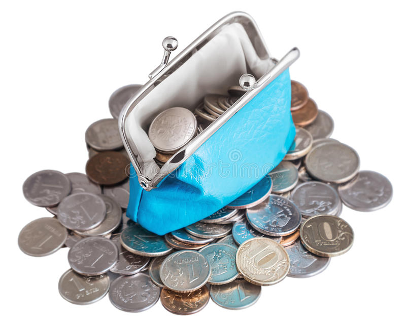 Bolsa azul e moedas isoladas no fundo branco fotos de stock royalty free