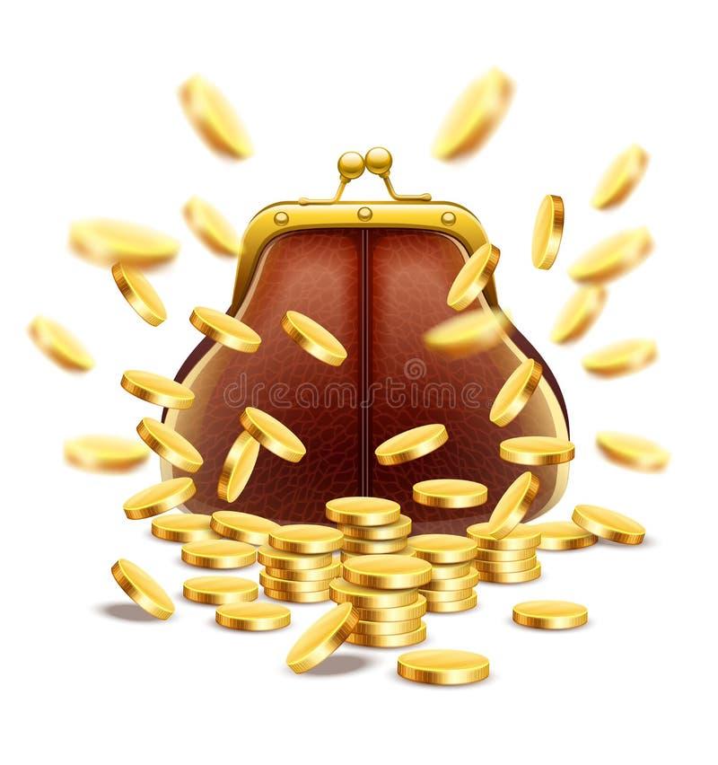 Bolsa clássica do vintage com dinheiro das moedas de ouro ilustração do vetor