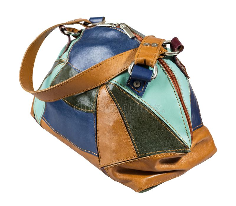 Bolsa colorido de couro dos retalhos isolada imagens de stock