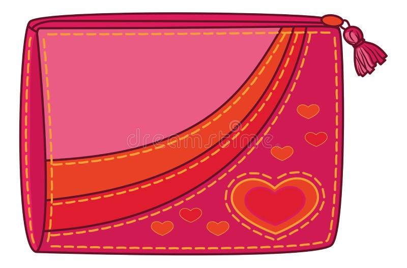Bolsa com corações do Valentim ilustração stock