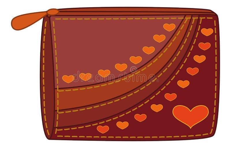 Bolsa com corações do Valentim ilustração royalty free