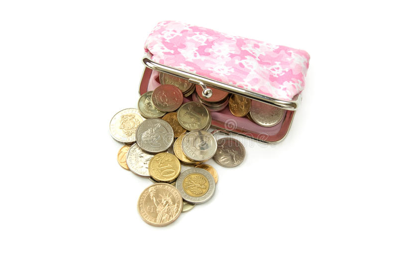 Bolsa com moedas imagens de stock royalty free