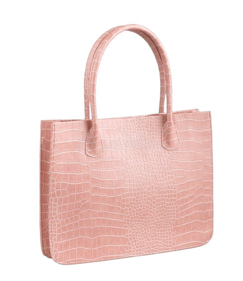 Bolsa cor-de-rosa do couro da mulher do crocodilo fotografia de stock