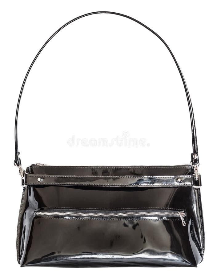 Bolsa das senhoras do couro envernizado preto fotografia de stock royalty free