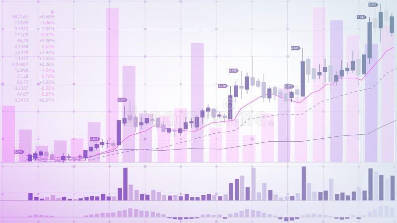 Bolsa de acci?n Mercado financiero Representación gráfica esquemática de las fluctuaciones de moneda en un fondo ligero stock de ilustración