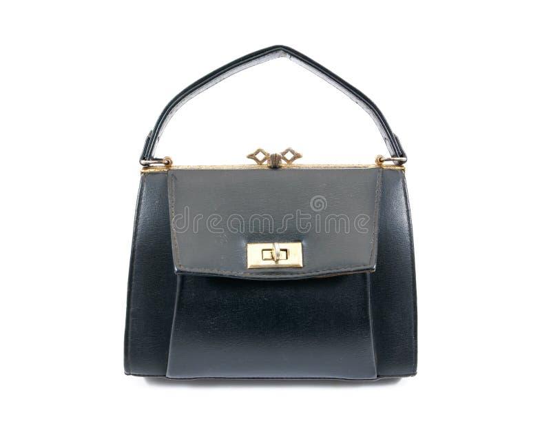 Bolsa de couro retro isolada no fundo branco Bolsa de couro velha isolada Bolsa de couro da senhora isolada imagens de stock