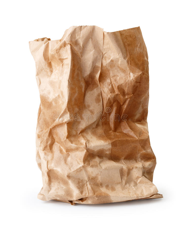Bolsa de papel arrugada con los puntos de la grasa imagen de archivo
