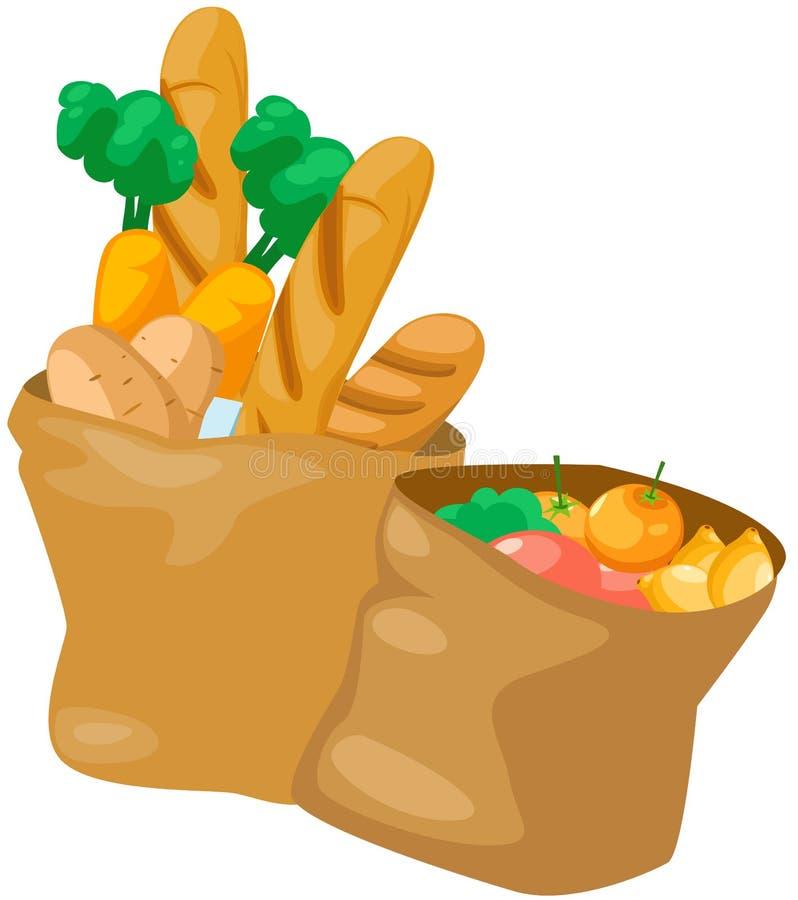 Bolsa de papel con el alimento stock de ilustración