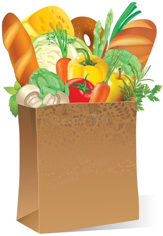 Bolsa de papel con el alimento ilustración del vector