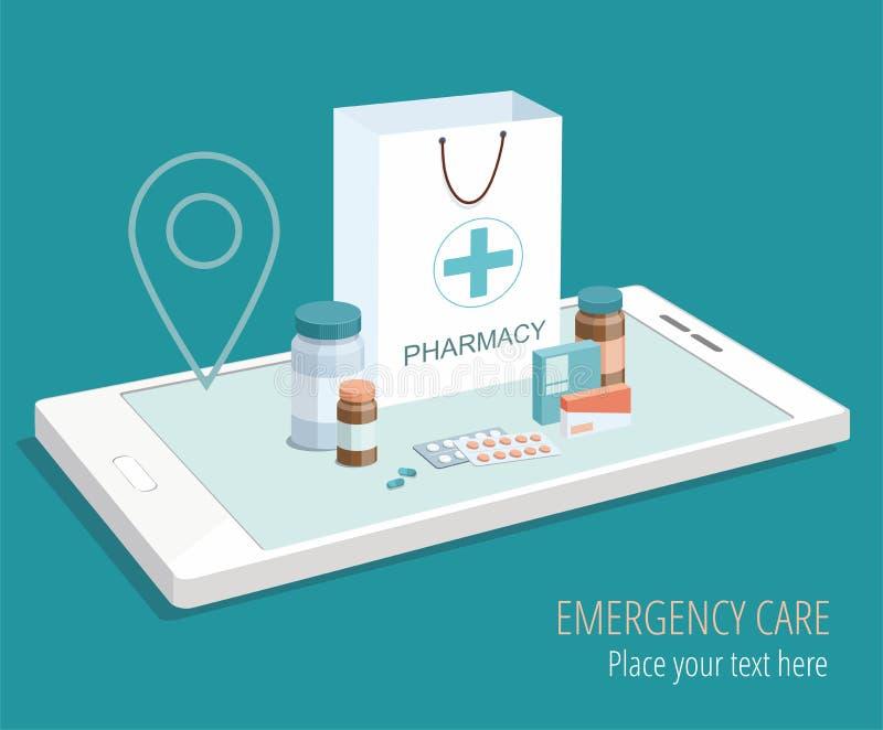 Bolsa de papel con el equipamiento médico y farmacia en smartphone isométrico ilustración del vector