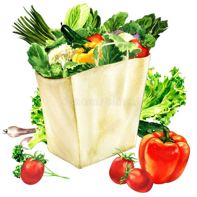 Bolsa de papel con la comida sana orgánica, bolso de compras y verduras frescas, concepto vegetariano, aislado, mano dibujada ilustración del vector