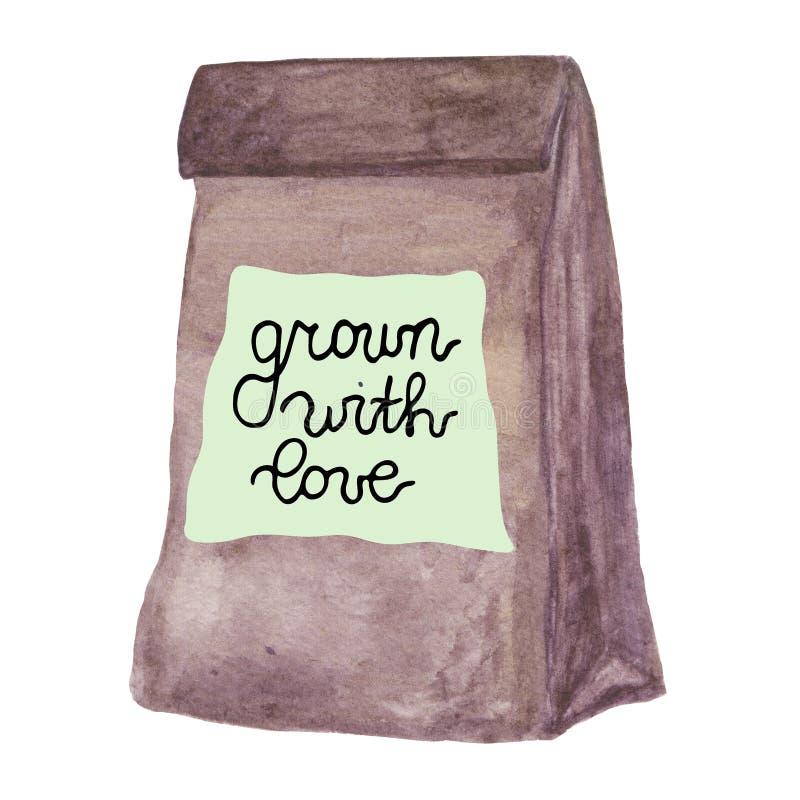 Bolsa de papel del arte de Brown con crecido con la insignia del amor stock de ilustración