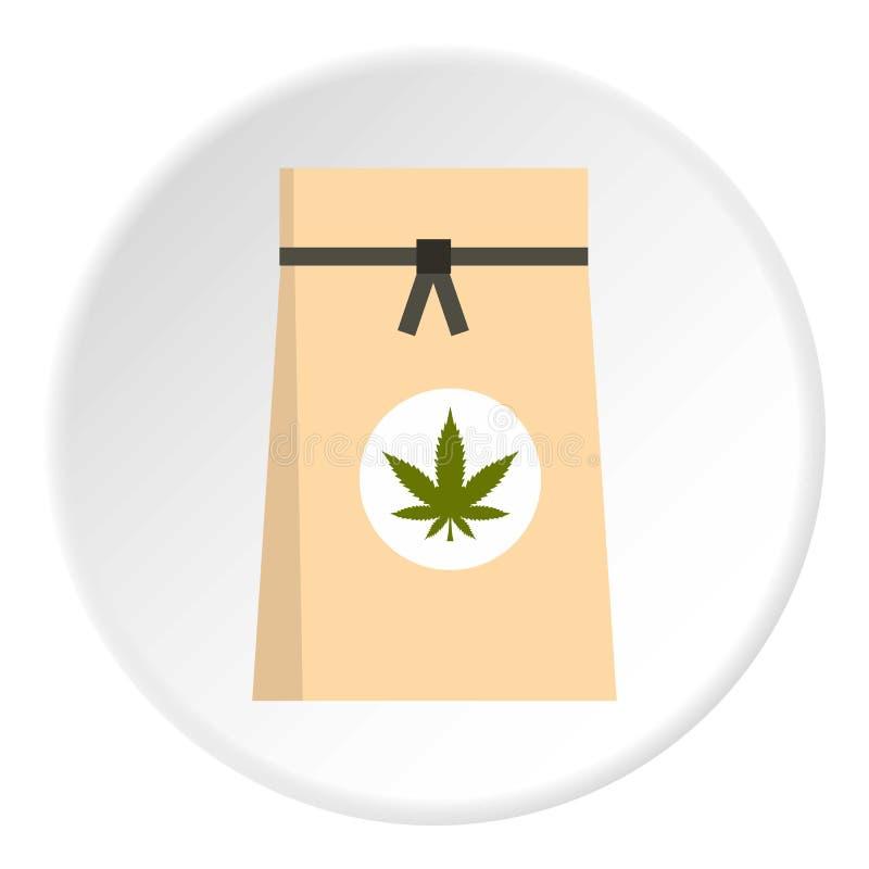 Bolsa de papel del círculo médico del icono de la marijuana libre illustration