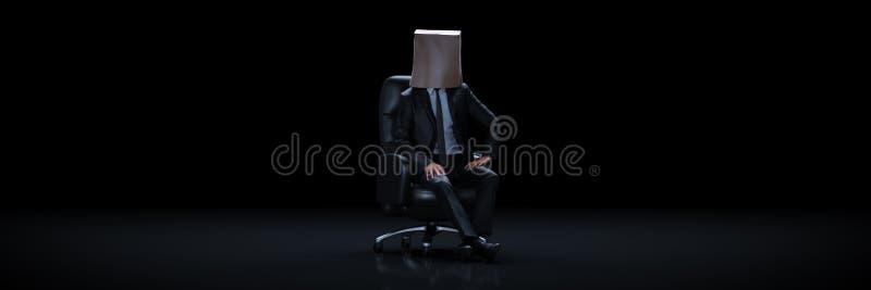 Bolsa de papel del hombre de negocios que desgasta 3d stock de ilustración