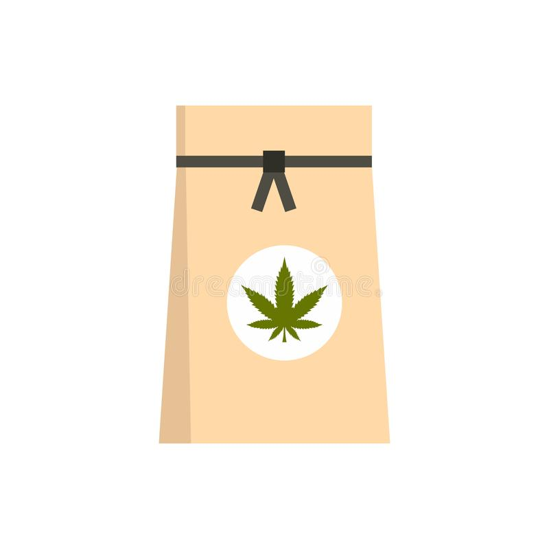 Bolsa de papel del icono médico de la marijuana, estilo plano ilustración del vector