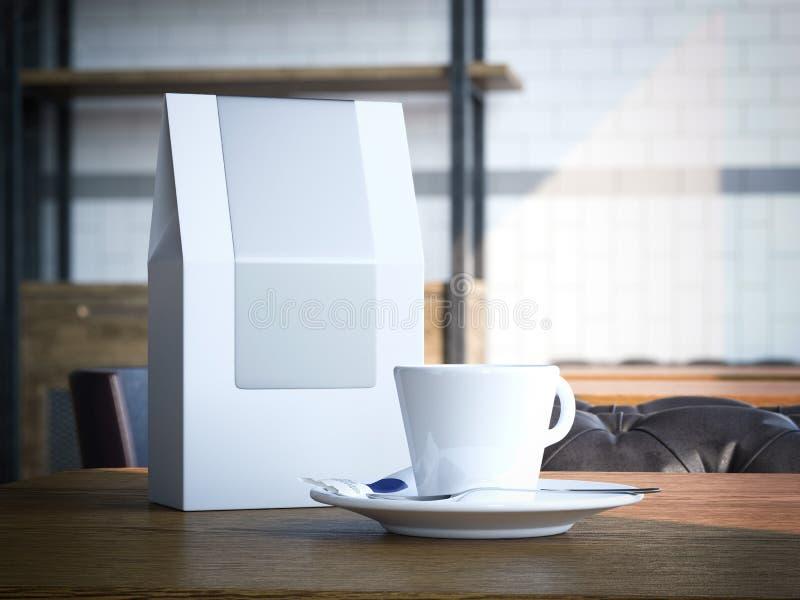 Bolsa de papel en blanco y taza blanca representación 3d ilustración del vector