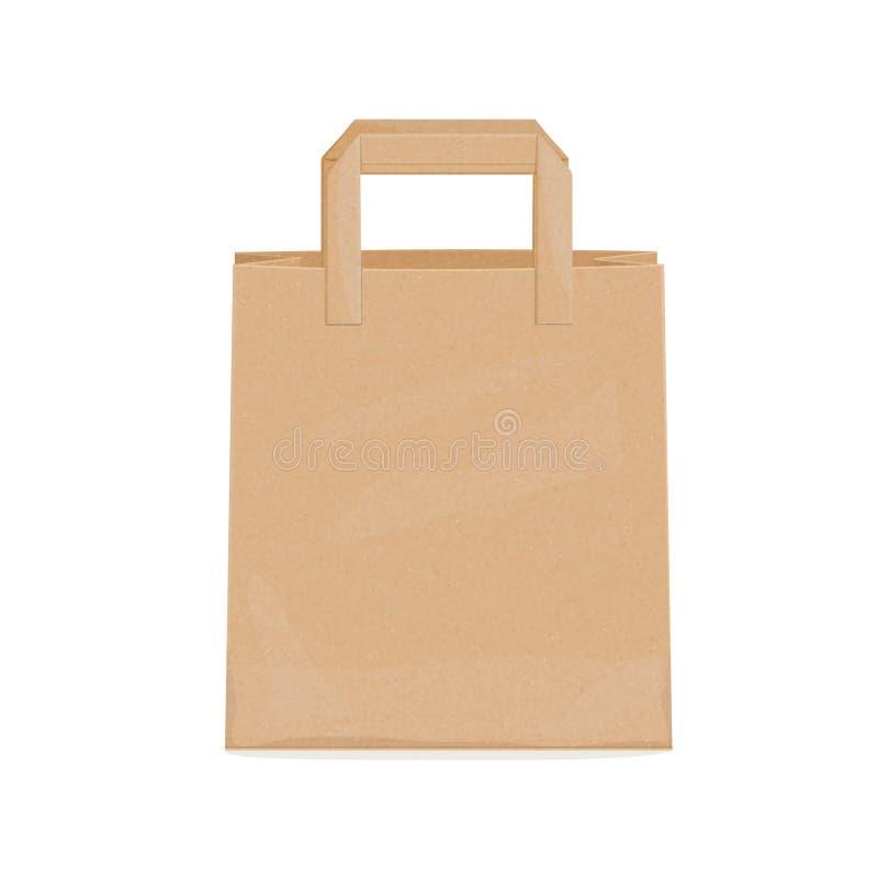 Bolsa de papel de Kraft para los ultramarinos stock de ilustración