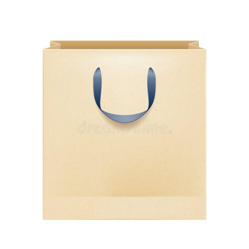 Bolsa de papel marrón en blanco con las manijas negras libre illustration