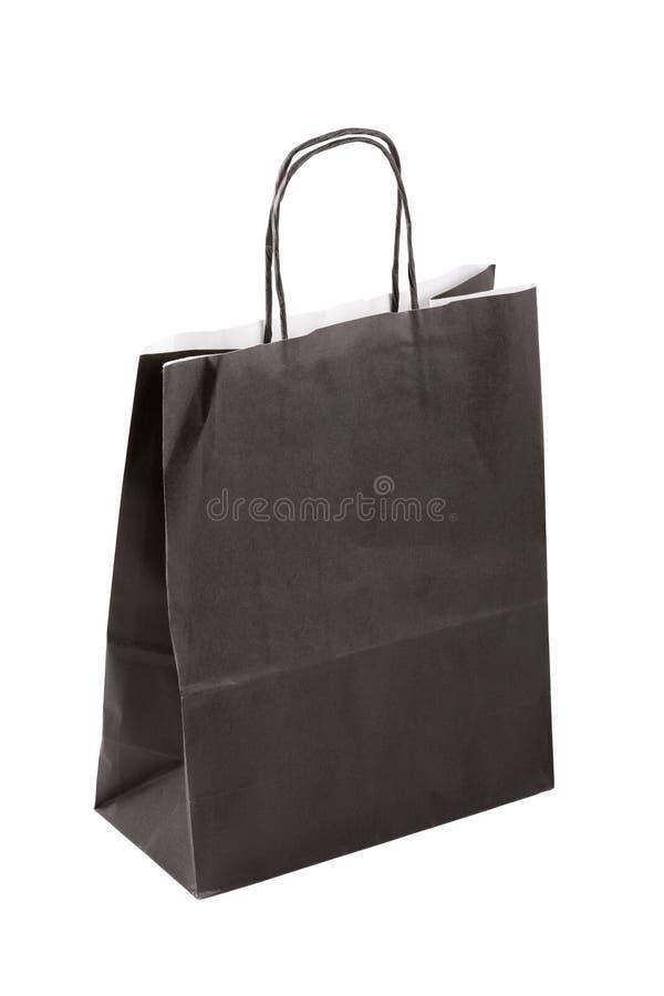 Bolsa de papel negra imagen de archivo
