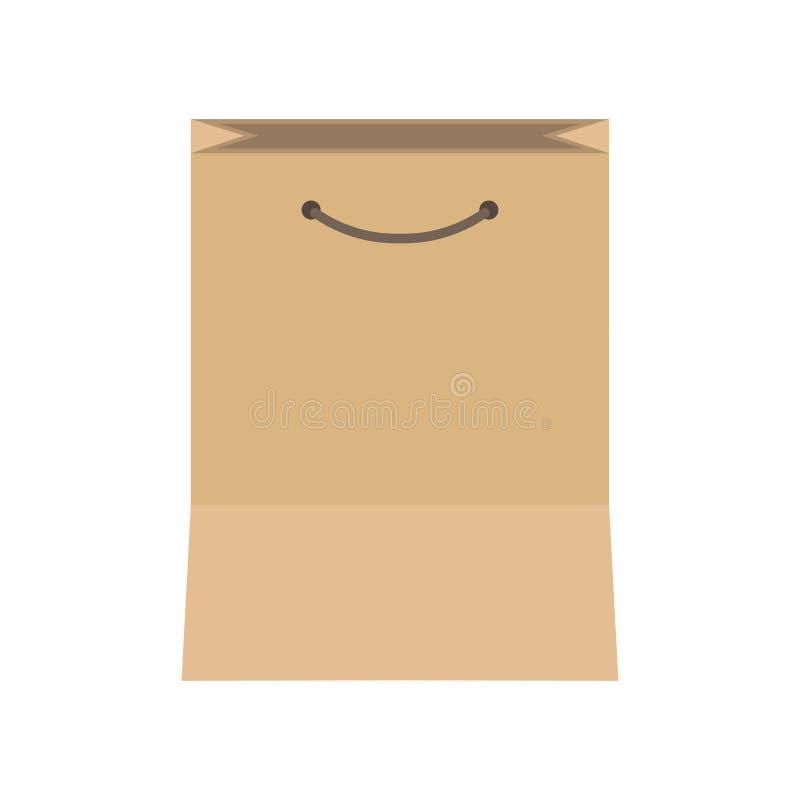 Bolsa de papel que empaqueta el icono aislado del vector del objeto del marrón del negocio Consumerismo plano de la caja de Kraft libre illustration
