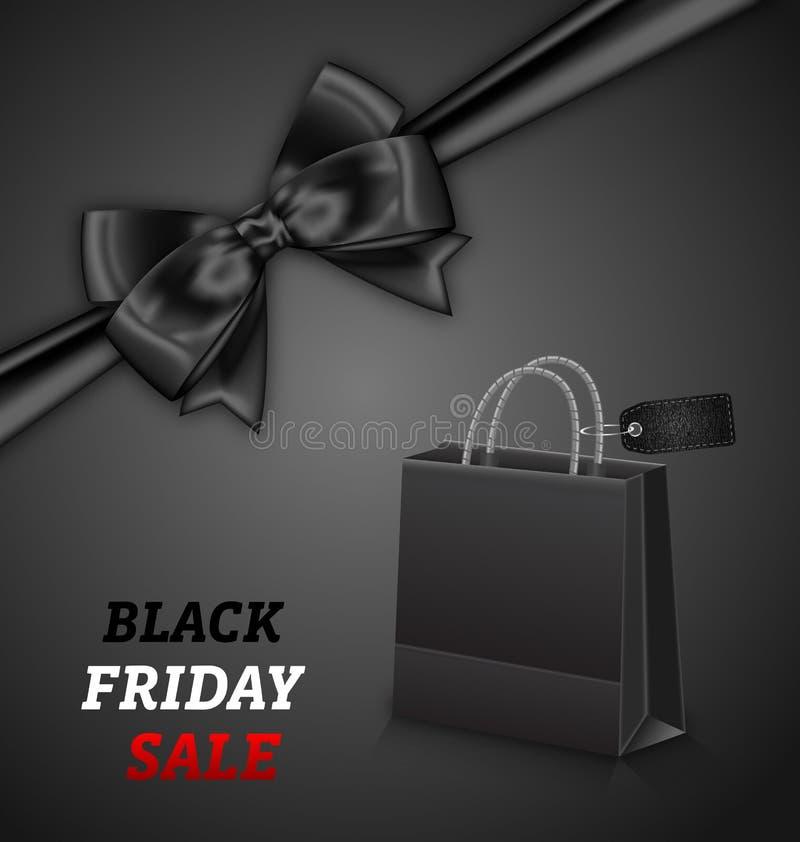 Bolsa de papel que hace compras para las ventas y el arco de Black Friday ilustración del vector