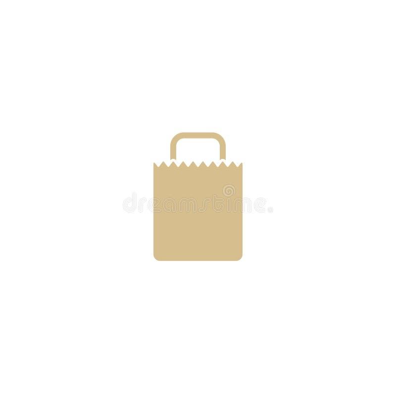 Bolsa de papel vacía del ultramarinos de Brown Icono plano aislado en blanco Ilustración del vector recicle el paquete del eco ilustración del vector