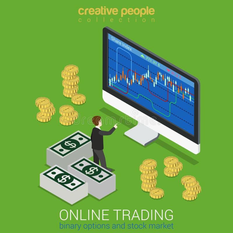 A bolsa de valores, opção binária, conceito de troca em linha ilustração stock