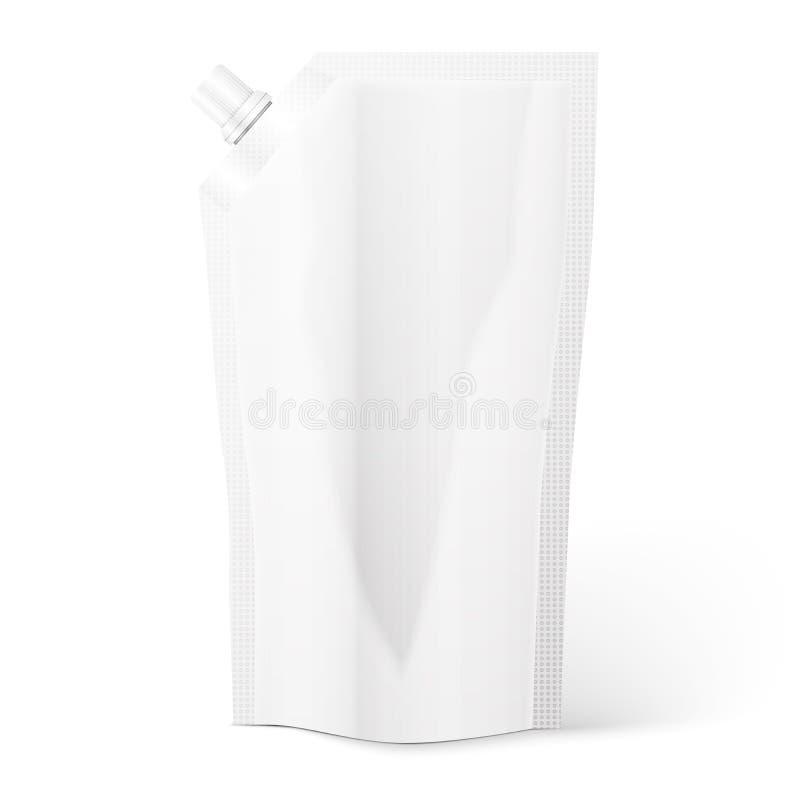 Bolsa del canalón, hoja del bolso o envase de plástico en blanco stock de ilustración