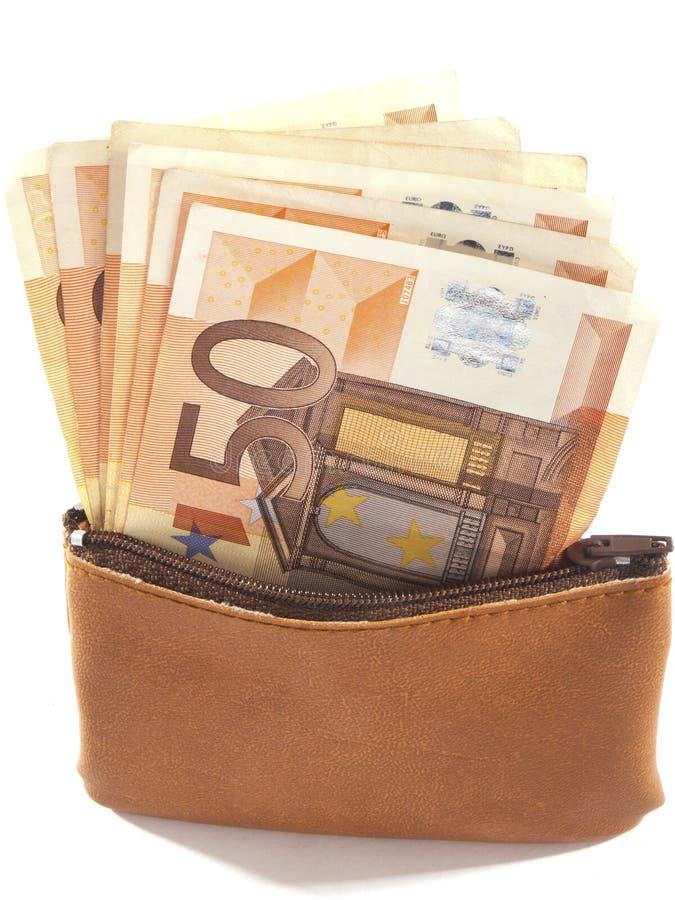 Bolsa do dinheiro com euro- cédulas fotografia de stock royalty free