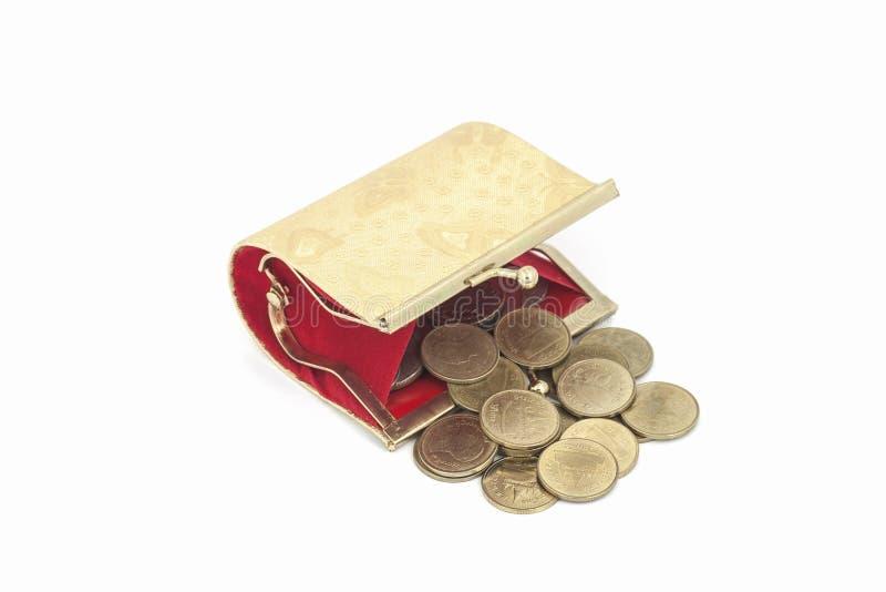 Bolsa dourada pequena da moeda isolada no fundo branco foto de stock royalty free