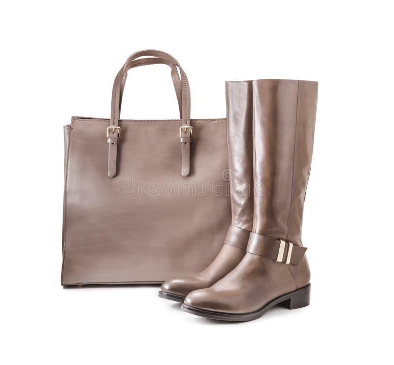 Bolsa e botas imagem de stock
