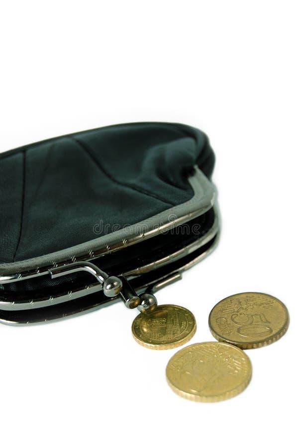 Bolsa e moedas foto de stock