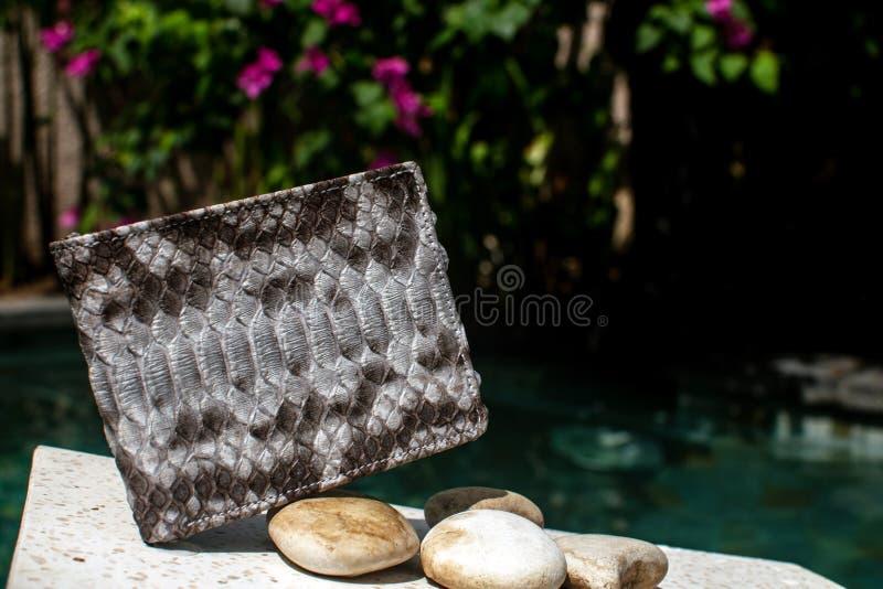 Bolsa elegante da serpente do pitão do pitão, embreagem Acessórios do pitão saco, pitão de couro da carteira, mulheres, bolsa do  fotos de stock
