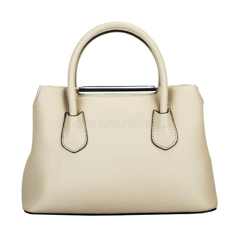 Bolsa elegante das senhoras do couro branco fotos de stock