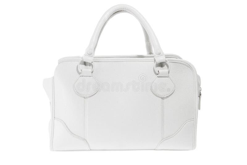 Bolsa elegante do couro branco das senhoras da estreia foto de stock